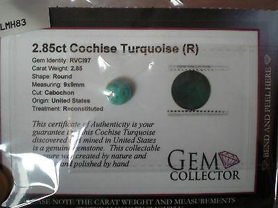 Loose Cochise Turquoise gemstone, 2.85 carats in weight, Round cabochon cut