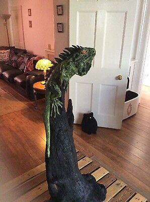 Rare Iguana on wood sculpture/ornament