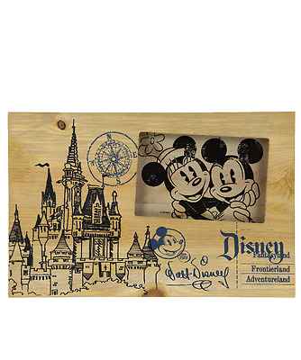 Disney Parks Mickey and Minnie Castle Sketch Blueprint Picture Photo Frame NEW