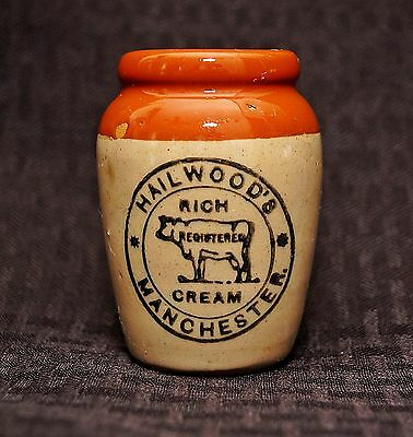 Hailwood's Manchester Rich Cream Crock Pot Jug Stonewares Early 1900's England