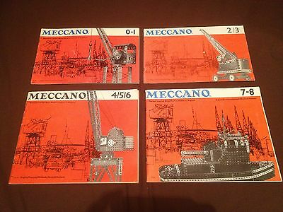 4 X Vintage Meccano Kit Instruction Manuals Covering 1 - 8.