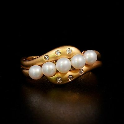 Solid 14K Yellow Gold  Cultured Pearl & Natural Diamond Ring Size 6.75