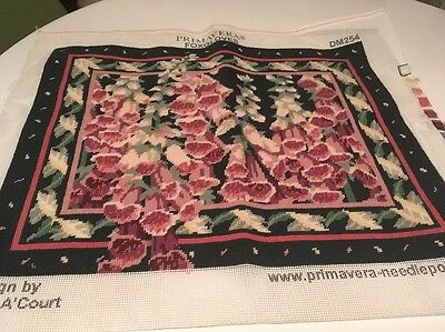 Primavera Foxgloves Cushion Front Completed Tapestry Canvas Julia A'court