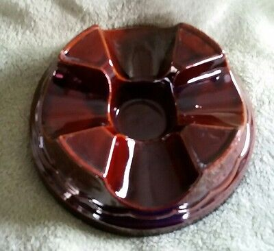 """Vintage Marcrest USA Brown Pottery Daisy Dot Warming Stand 7"""""""