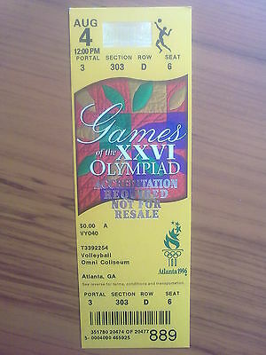 Ticket Olympic Games ATLANTA 04.08.1996 VOLLEYBALL (12:00 PM)