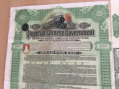 Imperial Chinese Government Bond 5% Hukuang Railways 1911