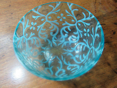 Antique Hand Blown Turquoise Spanish Lace Bowl