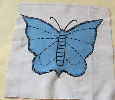 Vintage blue butterfly hand appliqued on feed sack cotton quilt blocks