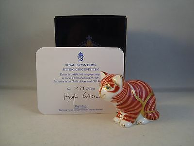Royal Crown Derby Sitting Ginger Kitten Paperweight - 1st Quality Box & Cert