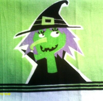 Kitchen Dish Towels W/ Crochet Tops - Halloween Witch
