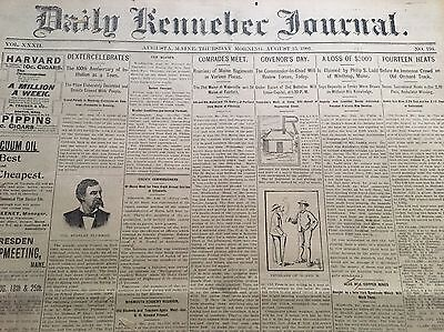 Daily Kennebec Journal Antique Newspaper, Aug, 1901, Approx 29 Dbl Pages