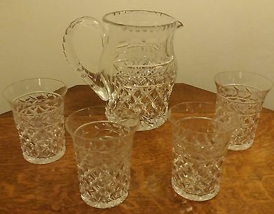 Quality Crystal Cut Glass Jug & 4 Tumblers.