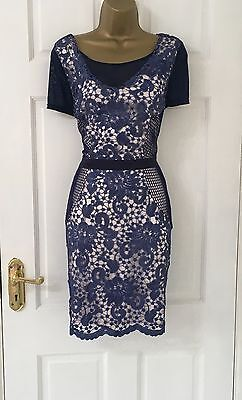 Branded New Blue Nude Lace Detail Bodycon Party Evening Dress Size 10