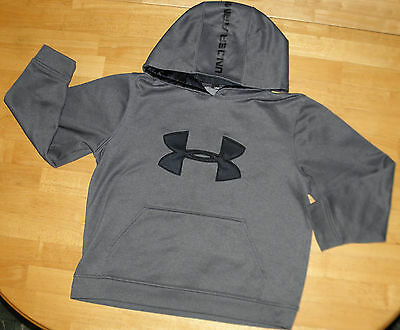 Under Armour Charcoal Hooded Logo Performance Sweatshirt Boys Youth Medium