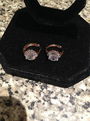 Stunning 18k Gold Filled Clear Diamonique Double Layer Hoop Earrings