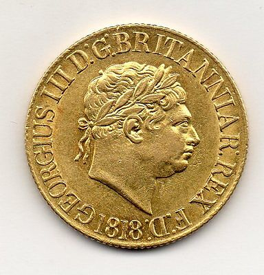 1818 Sovereign, George Iii, Rare Year, High Grade