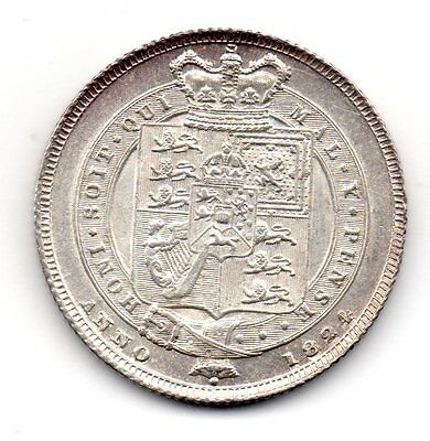 1824 Shilling, George Iv Laureate Head, High Grade