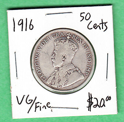 1916 Canada - 50 Cents Silver Coin - Very Good/Fine - George V