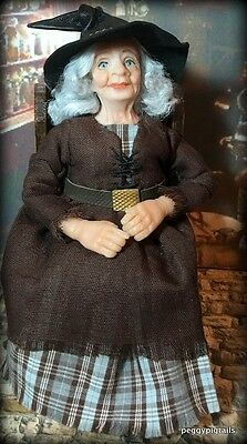 Ooak  12Th Scale  Miniature Dollhouse Friendly Witch Character Doll