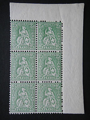 Switzerland 1862 - 1881 Stamps MNH  Wmk Helvetia Block of 6 Mint Never Hinged