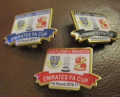 Eastleigh V Swindon Town 2016  Red Or Black Coloured Rare Cup Round  1 Badges
