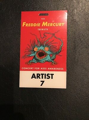 Freddie Mercury Tribute Concert - Scarce 1992 Uk Backstage Picture Pass