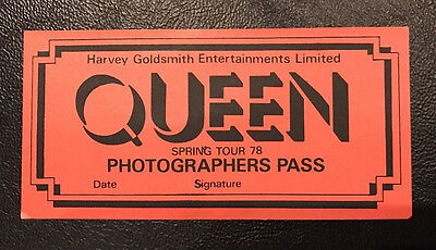 Queen - Genuine Photographers Pass - From Spring Tour '78