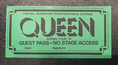Queen - Genuine Guest Pass - From Spring Tour '78