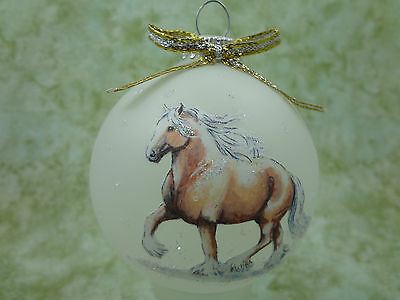 H062 Hand-made Christmas Ornament - horse - palomino gypsy belgian trotting