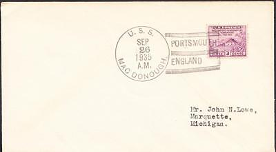 Destroyer USS MACDONOUGH DD-351 Portsmouth England 1935 Naval Cover
