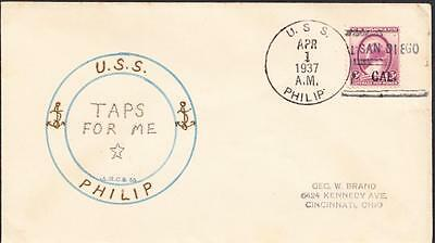 Destroyer USS PHILIP DD-76 DECOMMISSIONING 1937 Linto Cachet Naval Cover