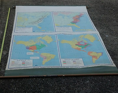 Antique A.j.nystrom - Quillen Johns Roll Up Class Room Map World  Inhabitants
