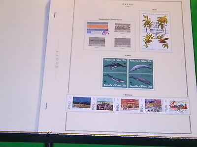 Palau stamp collection on Scott pages album 54  stamps, 3-S/S, & 66 pages