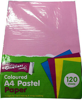 120 x A4 COLOURED PASTEL PAPER ASSORTED COLOURS ARTS CRAFTS CARD MAKING STOCK UK