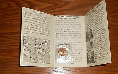 Sarawak 1933 Half Cent Coin Unc. with Original Vintage Souvenir Booklet