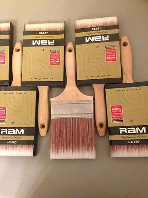 "Lot Of 10 Professional 4"" Paintbrushes,  RAM By Z-Pro, For All Paints"