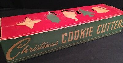 Vintage Christmas Cookie Cutters Flat Back Old Tin Molds in Box