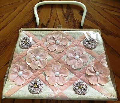 Vintage SOURE NY Floral Hand Bag Purse Beaded with NeedlePoint  RETRO CHIC