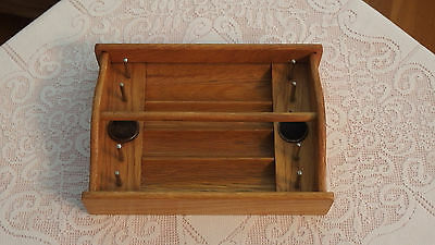 VINTAGE Handmade w/Real Wood and metal hooks Thread Holder Caddy, Perf. Cond.