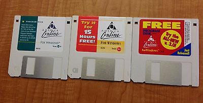 Three AOL America Online diskettes, versions 2.0, 2.5, 3.0