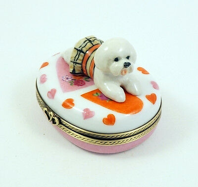 New French Limoges Box  Bichon Frise Dog Puppy In Dress Valentines Heart S Roses