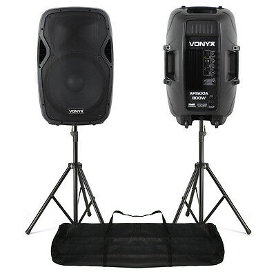 "Pair Active Powered PA Speaker System Stands|Vonyx AP1500A 15"" 1600W UK Stock"