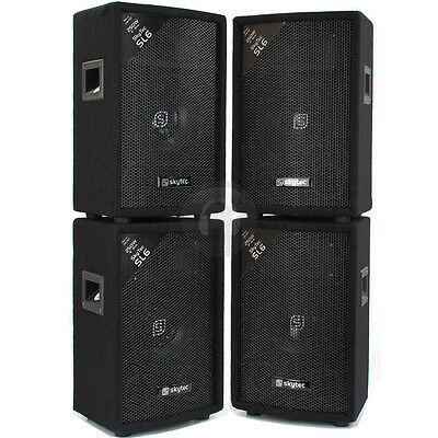 "4x Skytec 6"" Inch PA Party Speakers Disco DJ Sound Setup 1200W UK Stock"