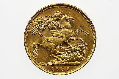 1897 Melbourne Mint Gold Sovereign in Almost Extremely Fine Condition
