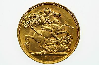 1910 Melbourne Mint Gold Full Sovereign in Extremely Fine Condition