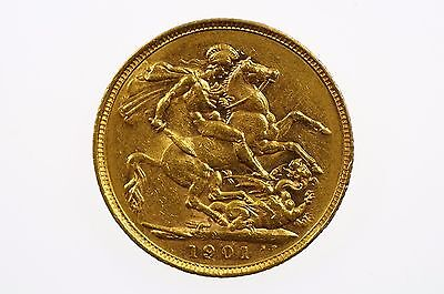 1901 Melbourne Mint Gold Full Sovereign in Fine Condition