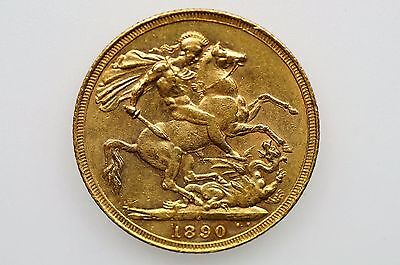 1890 Sydney Mint Gold Full Sovereign Jubilee Head in Very Fine Condition