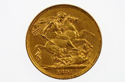 1891 Melbourne Mint Gold Full Sovereign in Very Fine Condition
