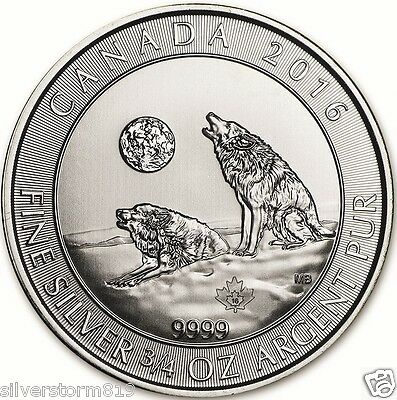 RCM 2016 Silver 9999 Howling Wolf  Canada 3/4 oz  $2  Wolves 9999 Pure Silver