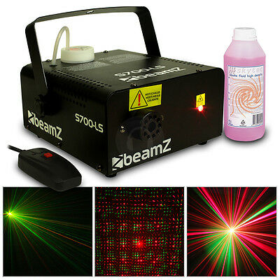 Beamz Smoke Machine with Red/Green Laser + High Density Fluid 1L 700W UK Stock